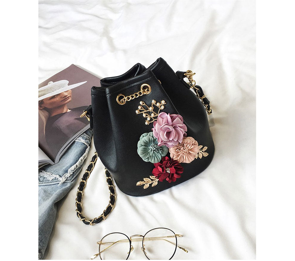 Handmade Flowers Bucket Bags Mini Shoulder Bags With Chain Drawstring Small  Cross Body Bags Pearl Bags