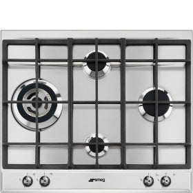 Smeg 60cm Stainless Steel Classic 4 Burner Gas