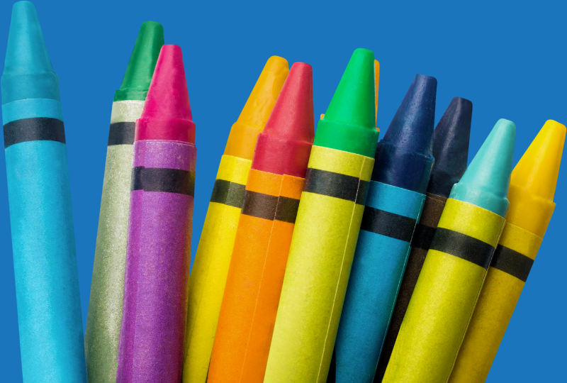 Crayons, assorted brands