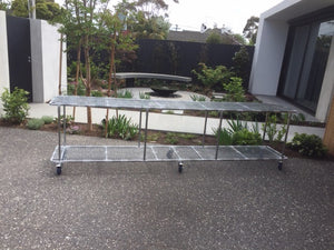 Double Layer Flat Plant Bench with Heavy Duty Wheels