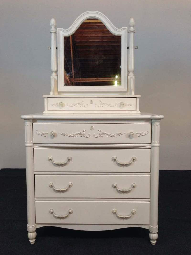 Stanley furniture company young america white painted and laminate wood vanity dresser