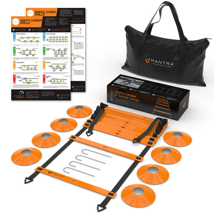 Agility Ladder & Speed Cones Training Set | Exercise Workout Equipment To Boost Fitness & Increase Quick Footwork | Ideal Kit for Soccer, Lacrosse, Hockey & Basketball | With Carry Bag & Drill Charts