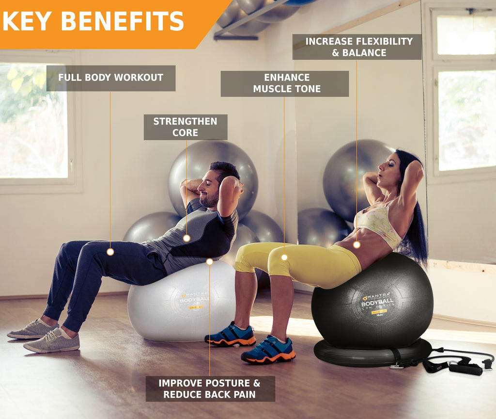 two people using the exercise ball chair in the gym