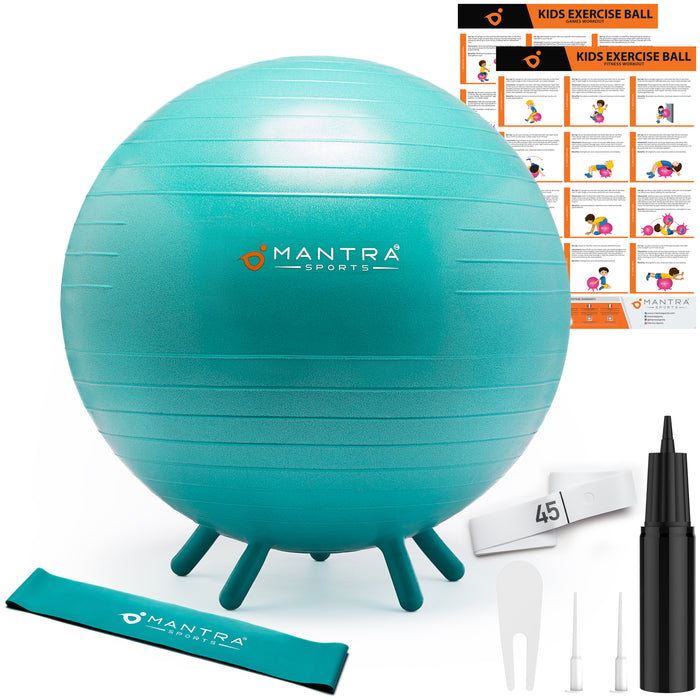 Yoga Ball & Chair for Kids. Includes Fidget Bands & Fitness Games Posters.