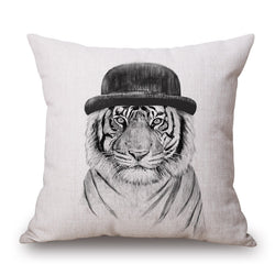 ANIMAL LION HAT FUN CUSHION COVERS - 45CM X 45CM - New York Looks