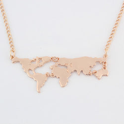 Gold Plated World Map Pendant - New York Looks