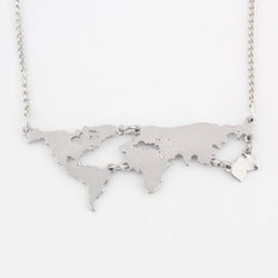 Silver Plated World Map Pendant - New York Looks