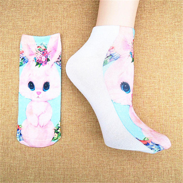 3D Printed Cat Funny Socks / Low Cut Ankle - New York Looks