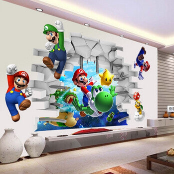 Super Mario Run 3d Cartoon Art Wall Stickers Wall Super Mario Bros Boy Room    New ...
