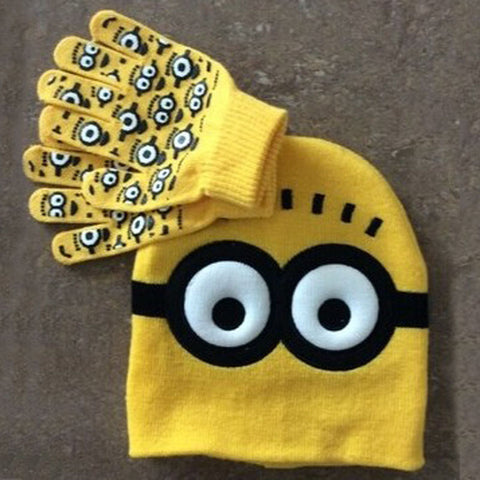 Baby Knitted Hats - 2 peice Set Minions Glove & Hat - New York Looks