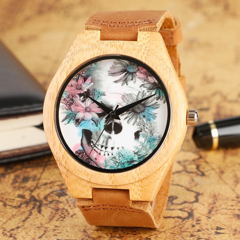 New Arrival Bamboo watch Flower Skull Quartz Wristwatches Women Men Girl Simple Bamboo Wood Watch Cool Modern Genuine Leather Band Strap