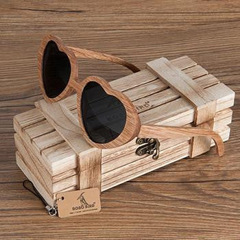 Heart Shaped Wood Sunglasses