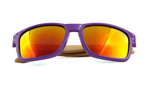 GT Bamboo Sunglasses Purple frame wood arms Polarized Lenses - GT Bamboo and More