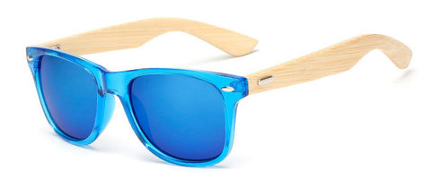 Bamboo Leg Sunglasses Unisex Wooden Sunglasses Blue Plastic Frame - GT Bamboo and More