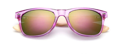 Bamboo Leg Sunglasses Unisex Wooden Sunglasses Purple plastic frame - GT Bamboo and More