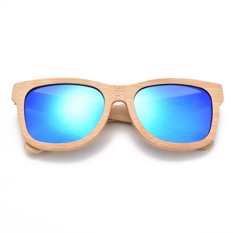 GT Bamboo Sunglasses Handmade Bamboo Sunglasses Natural Color Blue Mirror Lens - GT Bamboo and More