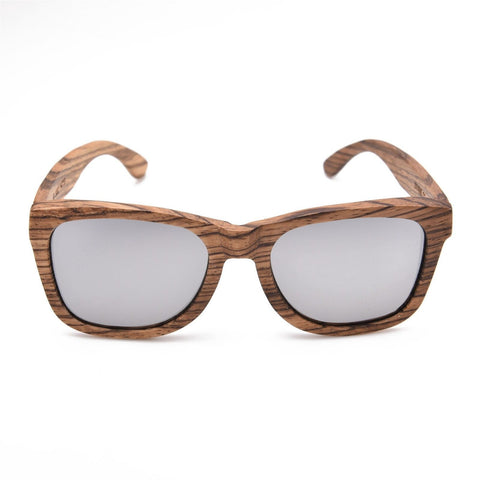 GT Bamboo Sunglasses Handmade Zebra wood Sunglasses Silver Mirror Lens - GT Bamboo and More