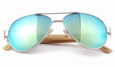 GT Bamboo Sunglasses Silver Aviator Plastic Frame Bamboo Arms UV 400 Protection Lenses - GT Bamboo and More