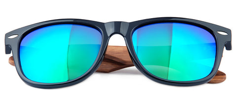 GT Bamboo sunglasses Black frame with Zebra arm Green Mirror lenses UV 400 protection lenses - GT Bamboo and More