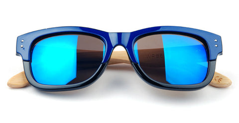 GT Bamboo sunglasses Black-Blue face bamboo arms Blue Mirror lens with UV 400 protection - GT Bamboo and More