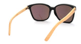 GT Bamboo Sunglasses Black frame and bamboo arms Green Mirror UV 400 protection lenses - GT Bamboo and More