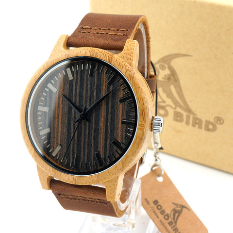 BOBO BIRD H08 Vogue Mens Bamboo Watches Wooden Dial Leather Quartz Wristwatch in Gift Box - GT Bamboo and More