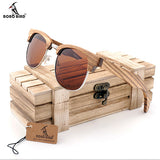 Zebra-stripe BOBO BIRD Brand Designer Bamboo Sunglasses Handmade - GT Bamboo and More