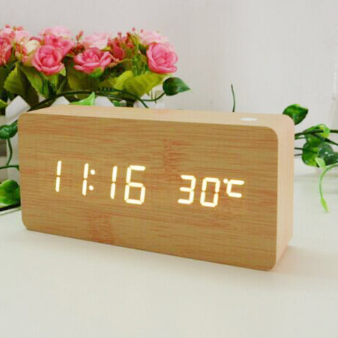 Dual led display Bamboo Clock digital alarm clock Led Clock Show Temp Time Voice Control - GT Bamboo and More