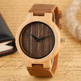 Cool Handmade Bamboo Watches Women Modern Genuine Leather Band Strap Creative Nature Wood Bamboo Pattern Wristwatches Bangle - GT Bamboo and More