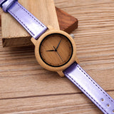 Bamboo Watch Simple Genuine Purple Leather strap analog Watches - GT Bamboo and More