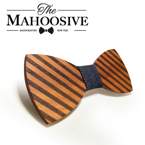 Mahoosive Striped Wood Bow Tie For Men Classic Wooden Bow knot - GT Bamboo and More