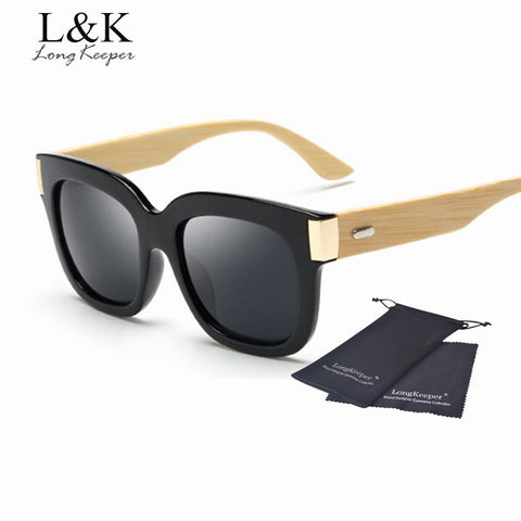 Bamboo Sunglasses Square Oversized Wooden Sunglasses Women/ Men Brand Design Original Bamboo Arms Sun Glasses - GT Bamboo and More