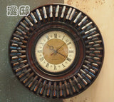 Kingart Wall Clock Vintage Bamboo & Wooden Frame Clock Antique Color Wall - GT Bamboo and More