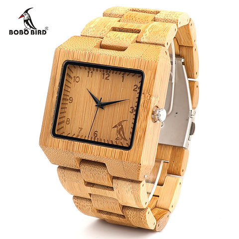 BOBO BIRD Fashion Men Square Bamboo Wooden Watches with BIRD Pattern on the Dial Face - GT Bamboo and More