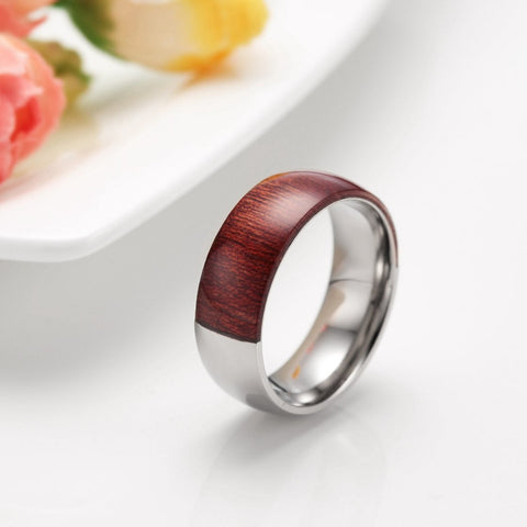 Luxury  Half Titanium Half Wood Men Ring Mahogany Engagement Rings Male Wedding Band - GT Bamboo and More
