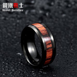 Steel Soldier Black Ring with Dark Red Wood Inlay Men or Women - GT Bamboo and More