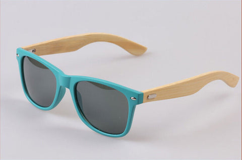 Bamboo leg Sunglasses Unisex Wooden Sunglasses Teal Green plastic frame - GT Bamboo and More