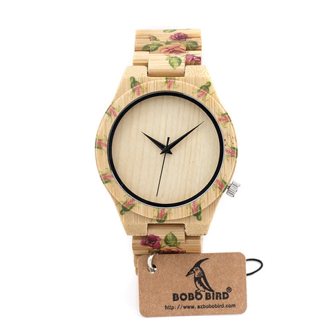 BOBO BIRD Bamboo Women Luxury Watch With Engrave Flower Bamboo Band - GT Bamboo and More