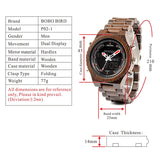 BOBO BIRD Wooden Men Watches Multi functional Wristwatch with Night Light and Week Display - GT Bamboo and More