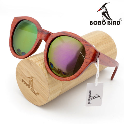 Bamboo Sunglasses Red Wood Cat Eye Wood Over sized Sunglasses With Bamboo Box - GT Bamboo and More