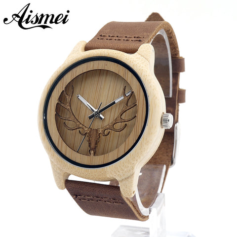 Aismei Mens Deer Head Design Buck Bamboo Wooden Watches Luxury Wooden Bamboo Watches With Leather Quartz Watch with box - GT Bamboo and More