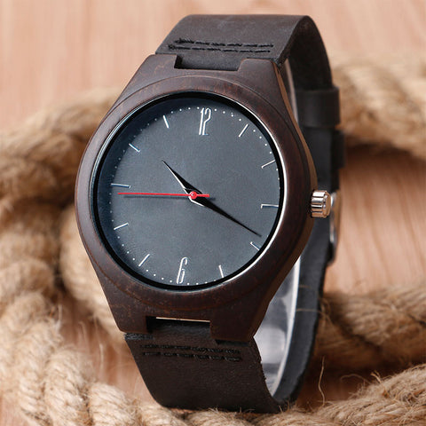 Wood Wrist Watch Analog Sport Bamboo Black Genuine Leather Strap - GT Bamboo and More