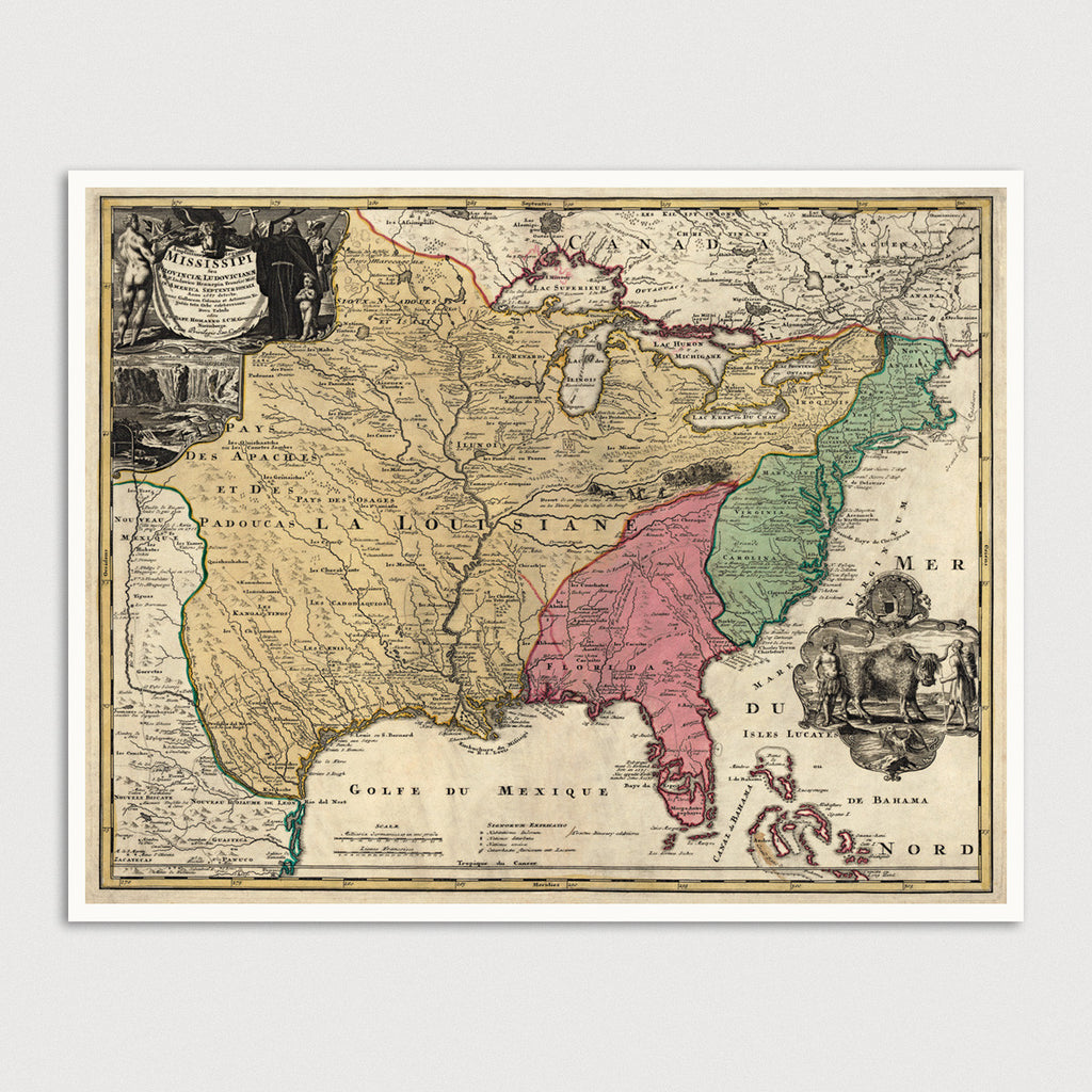Colonial America Antique Map Print (c1763)