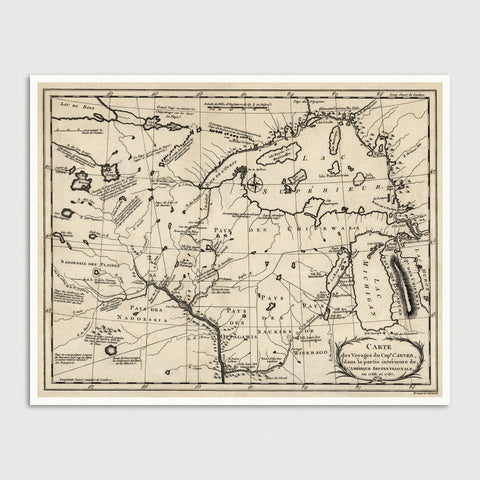 Upper Midwest US Antique Map Print (c1768)