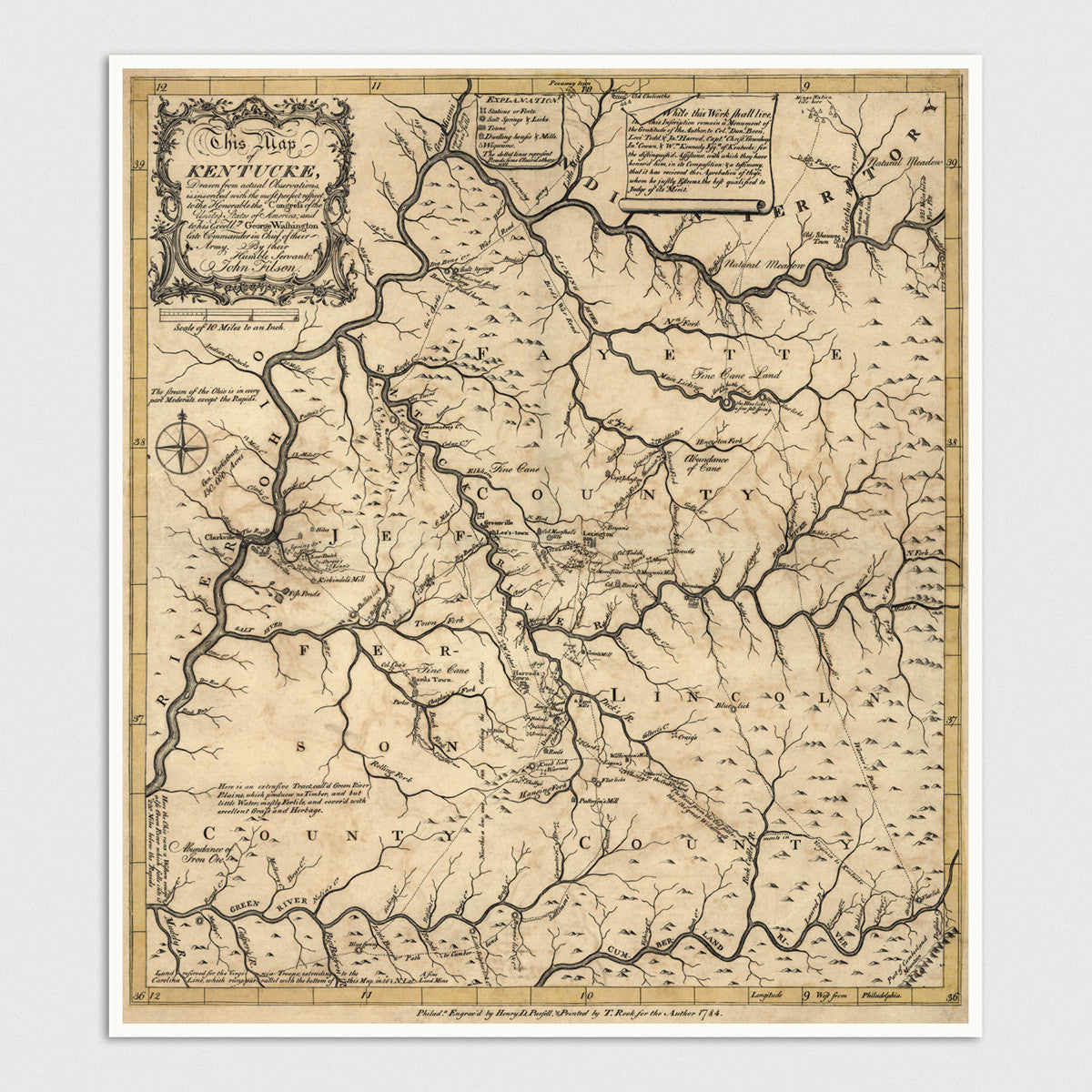 image about Printable Map of Kentucky identify Kentucky Antique Map Print (1784)