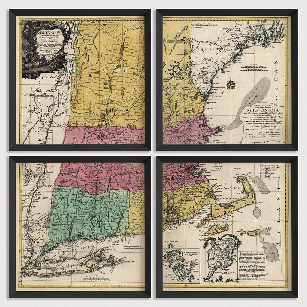 New England Antique Map Print Set (1777)
