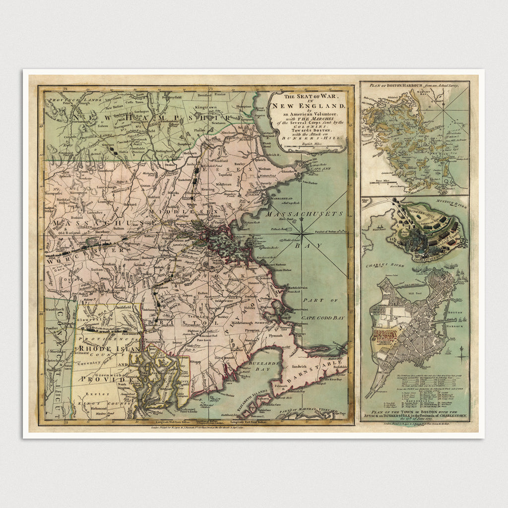 Massachusetts Antique Map Print (1775)