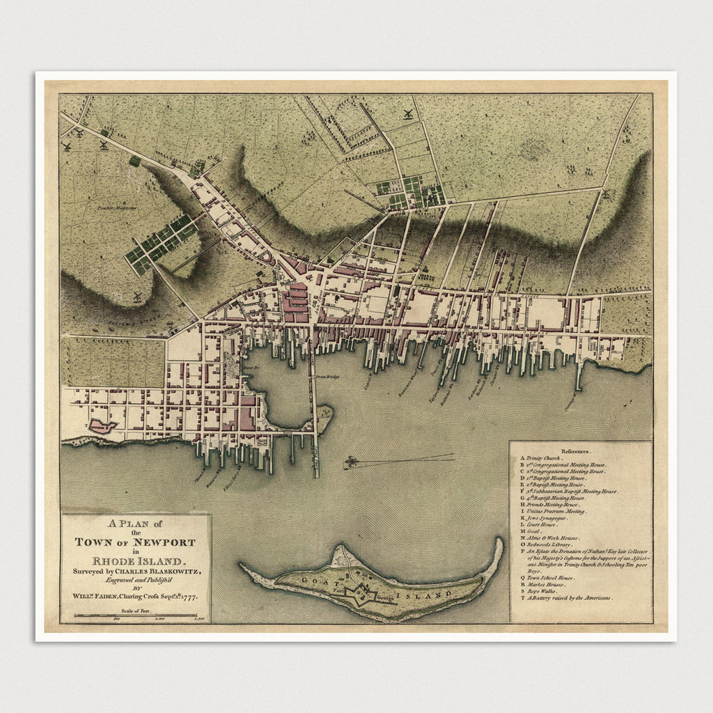 Newport Antique Map Print (1777)