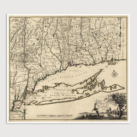 Connecticut Antique Map Print (1780)