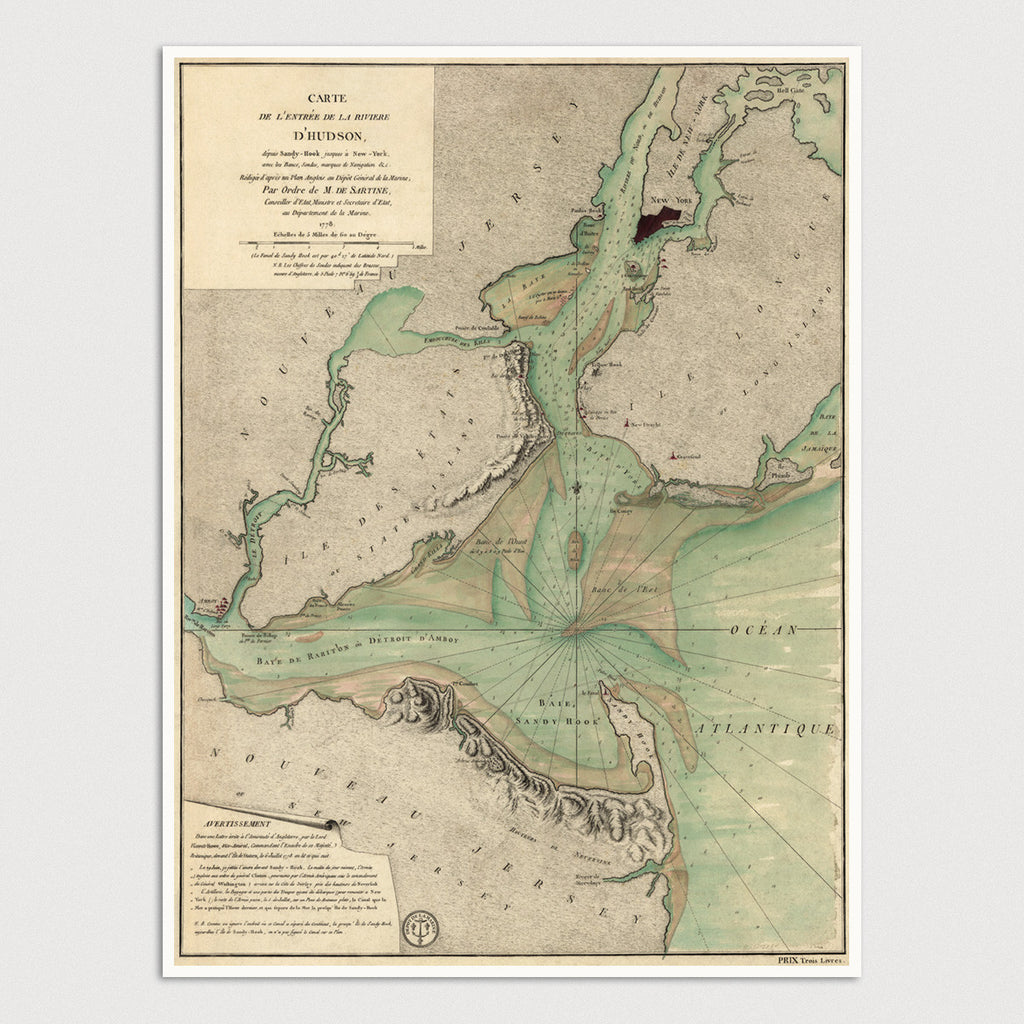 New York Bay Antique Map Print (1778)